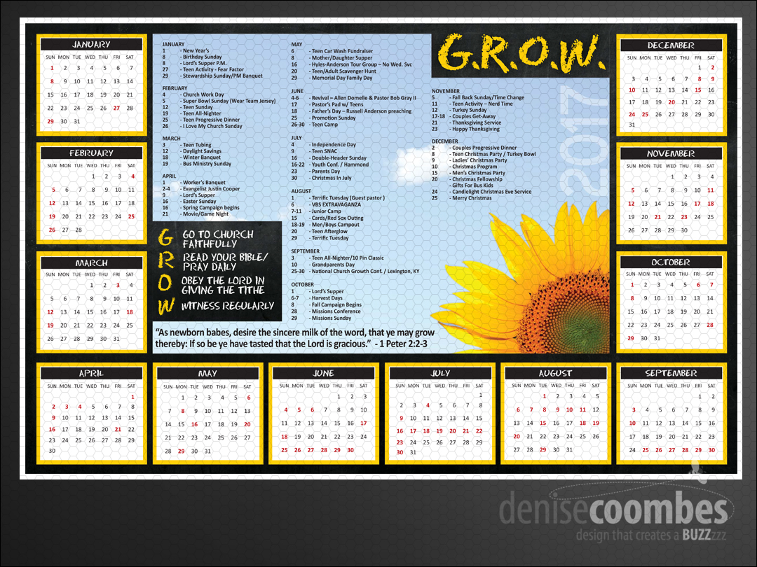 Church Calendar Design.Lighthouse Baptist Church